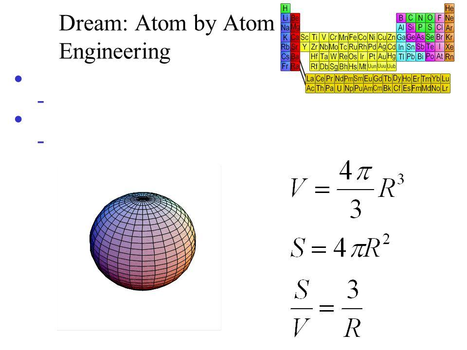Dream: Atom by Atom Engineering Efeitos quânticos - ( e L sistema ) - confinamento, transporte quantizado,... Efeitos de superfície/interface serão fu