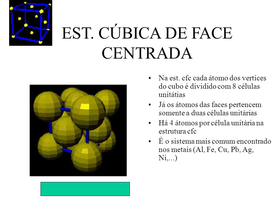 EST. CÚBICA DE FACE CENTRADA Na est. cfc cada átomo dos vertices do cubo é dividido com 8 células unitátias Já os átomos das faces pertencem somente a