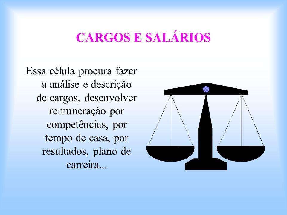 CARGOS E SALÁRIOS Essa célula procura fazer a análise e descrição de cargos, desenvolver remuneração por competências, por tempo de casa, por resultad