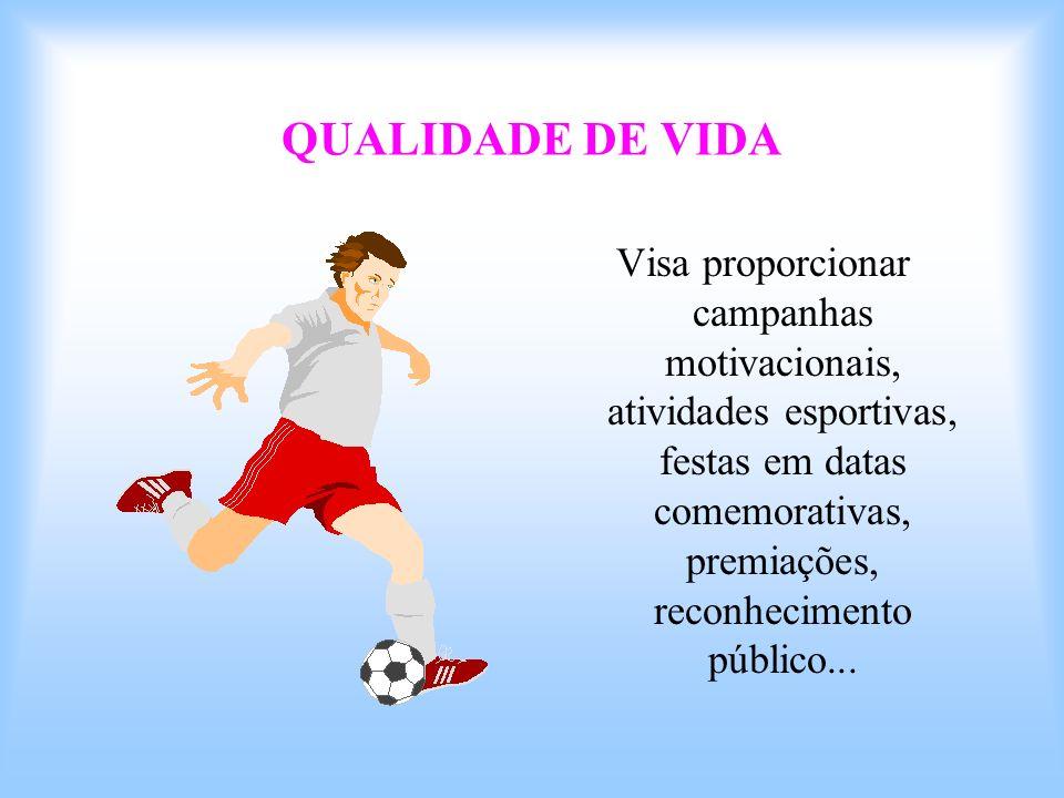 QUALIDADE DE VIDA Visa proporcionar campanhas motivacionais, atividades esportivas, festas em datas comemorativas, premiações, reconhecimento público.