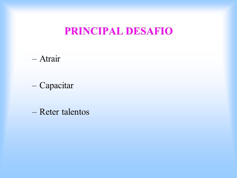 PRINCIPAL DESAFIO –Atrair –Capacitar –Reter talentos