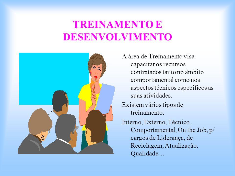 TREINAMENTO E DESENVOLVIMENTO A área de Treinamento visa capacitar os recursos contratados tanto no âmbito comportamental como nos aspectos técnicos e