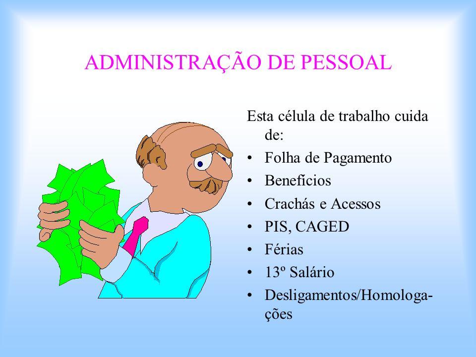 ADMINISTRAÇÃO DE PESSOAL Esta célula de trabalho cuida de: Folha de Pagamento Benefícios Crachás e Acessos PIS, CAGED Férias 13º Salário Desligamentos