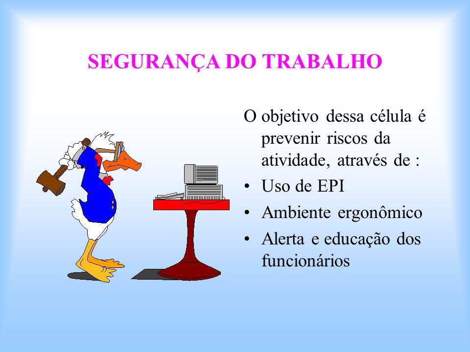 SEGURANÇA DO TRABALHO O objetivo dessa célula é prevenir riscos da atividade, através de : Uso de EPI Ambiente ergonômico Alerta e educação dos funcio