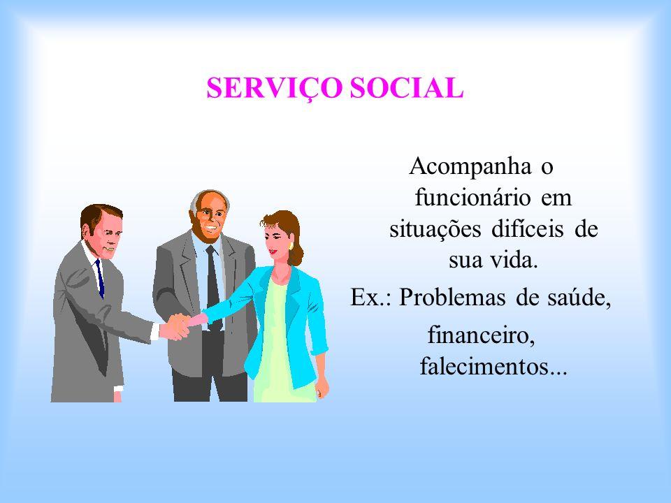 SERVIÇO SOCIAL Acompanha o funcionário em situações difíceis de sua vida. Ex.: Problemas de saúde, financeiro, falecimentos...