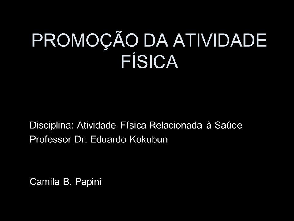 PROMOÇÃO DA ATIVIDADE FÍSICA Disciplina: Atividade Física Relacionada à Saúde Professor Dr. Eduardo Kokubun Camila B. Papini