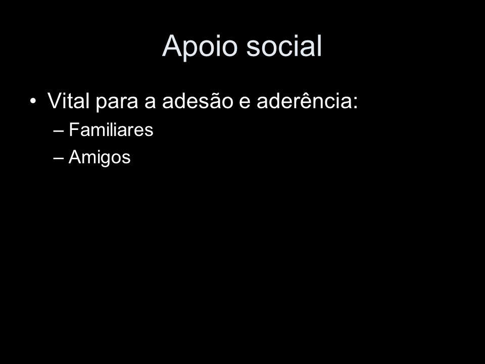 Apoio social Vital para a adesão e aderência: –Familiares –Amigos