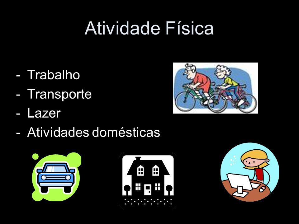 Atividade Física -Trabalho -Transporte -Lazer -Atividades domésticas