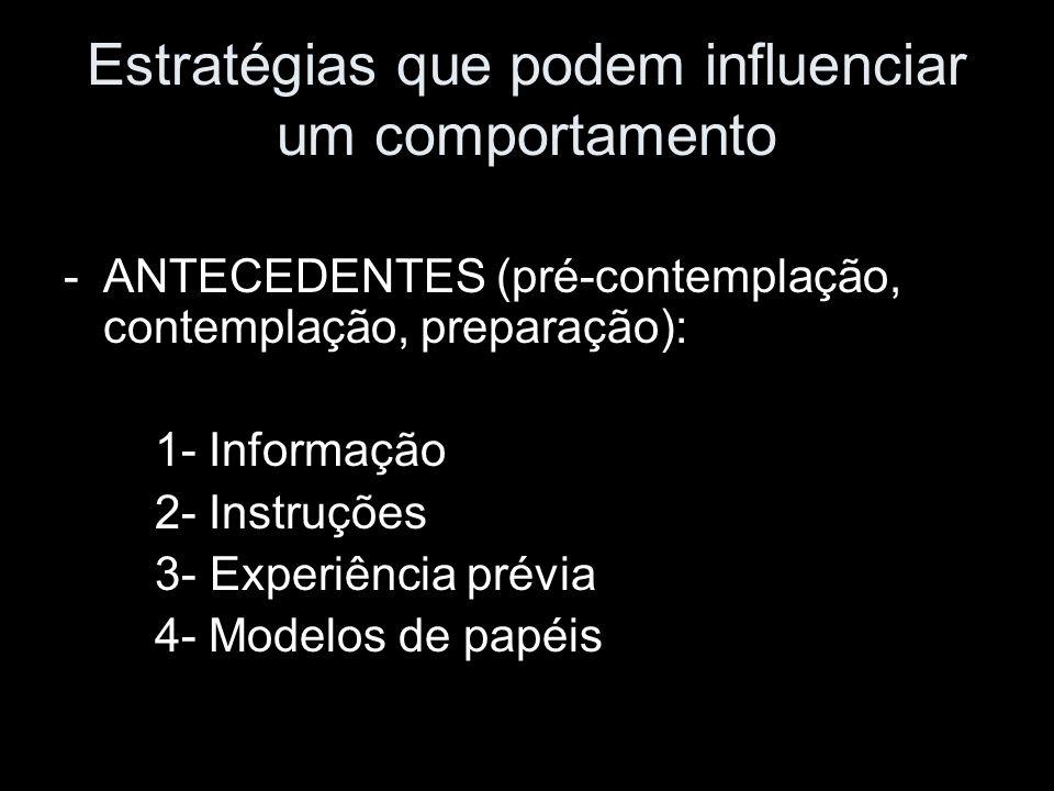Estratégias que podem influenciar um comportamento -ANTECEDENTES (pré-contemplação, contemplação, preparação): 1- Informação 2- Instruções 3- Experiên