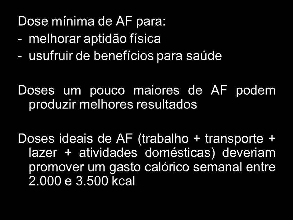 Dose mínima de AF para: -melhorar aptidão física -usufruir de benefícios para saúde Doses um pouco maiores de AF podem produzir melhores resultados Do