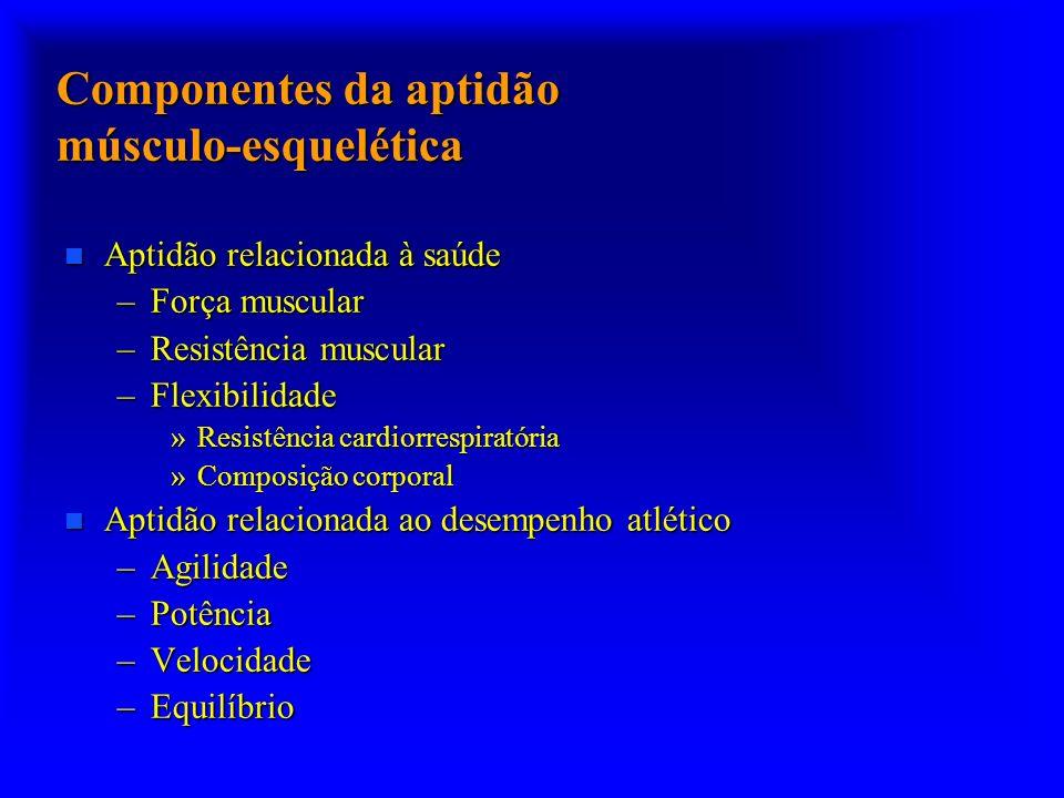 Componentes da aptidão músculo-esquelética n Aptidão relacionada à saúde –Força muscular –Resistência muscular –Flexibilidade »Resistência cardiorresp