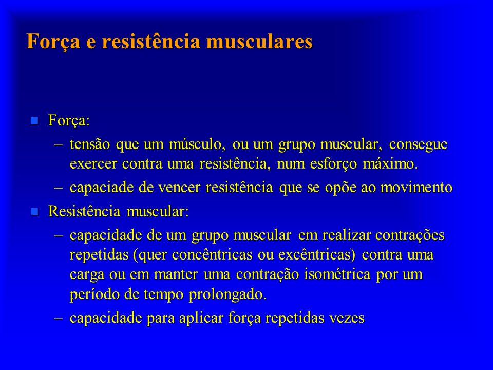 Força e resistência musculares n Força: –tensão que um músculo, ou um grupo muscular, consegue exercer contra uma resistência, num esforço máximo. –ca