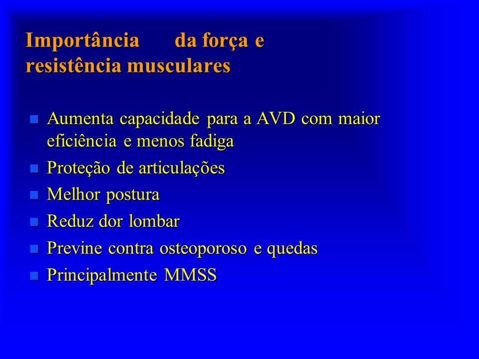 Importância da força e resistência musculares n Aumenta capacidade para a AVD com maior eficiência e menos fadiga n Proteção de articulações n Melhor