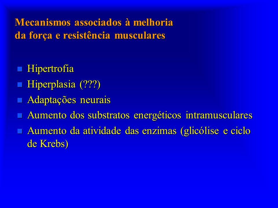 Mecanismos associados à melhoria da força e resistência musculares n Hipertrofia n Hiperplasia (???) n Adaptações neurais n Aumento dos substratos ene