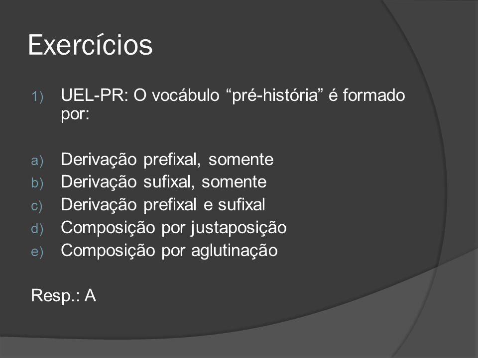 Exercícios 1) UEL-PR: O vocábulo pré-história é formado por: a) Derivação prefixal, somente b) Derivação sufixal, somente c) Derivação prefixal e sufi