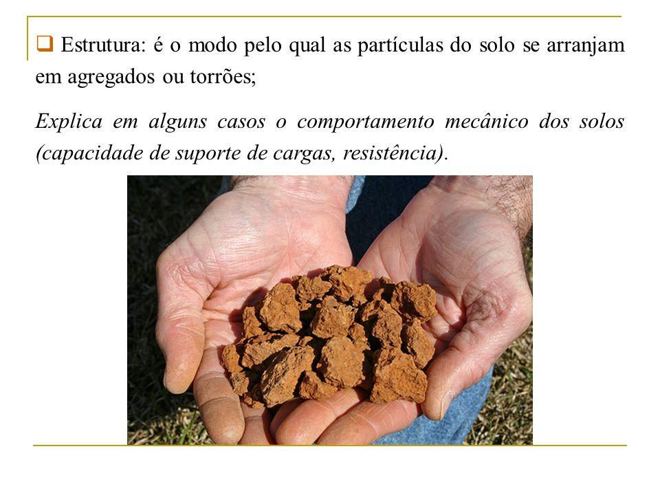 Estrutura: é o modo pelo qual as partículas do solo se arranjam em agregados ou torrões; Explica em alguns casos o comportamento mecânico dos solos (c