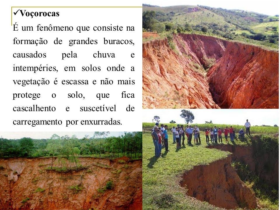 Voçorocas É um fenômeno que consiste na formação de grandes buracos, causados pela chuva e intempéries, em solos onde a vegetação é escassa e não mais