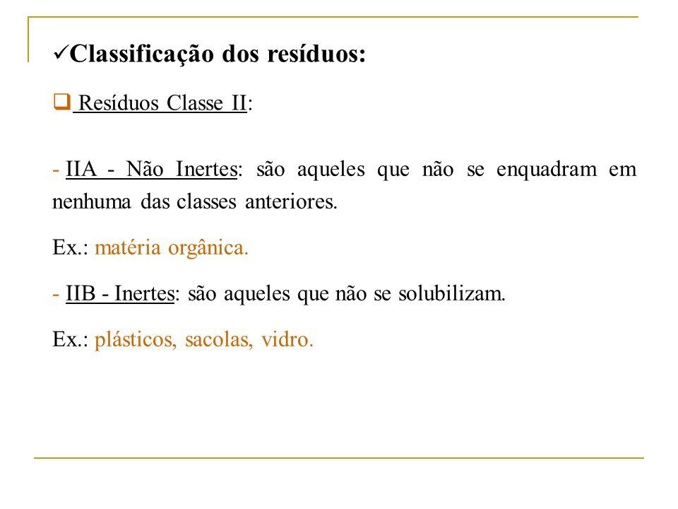 Classificação dos resíduos: Resíduos Classe II: - IIA - Não Inertes: são aqueles que não se enquadram em nenhuma das classes anteriores. Ex.: matéria