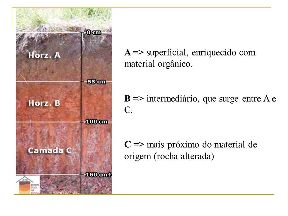 A => superficial, enriquecido com material orgânico. B => intermediário, que surge entre A e C. C => mais próximo do material de origem (rocha alterad
