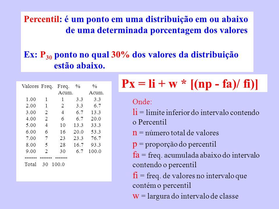Percentil: é um ponto em uma distribuição em ou abaixo de uma determinada porcentagem dos valores Ex: P 30 ponto no qual 30% dos valores da distribuiç