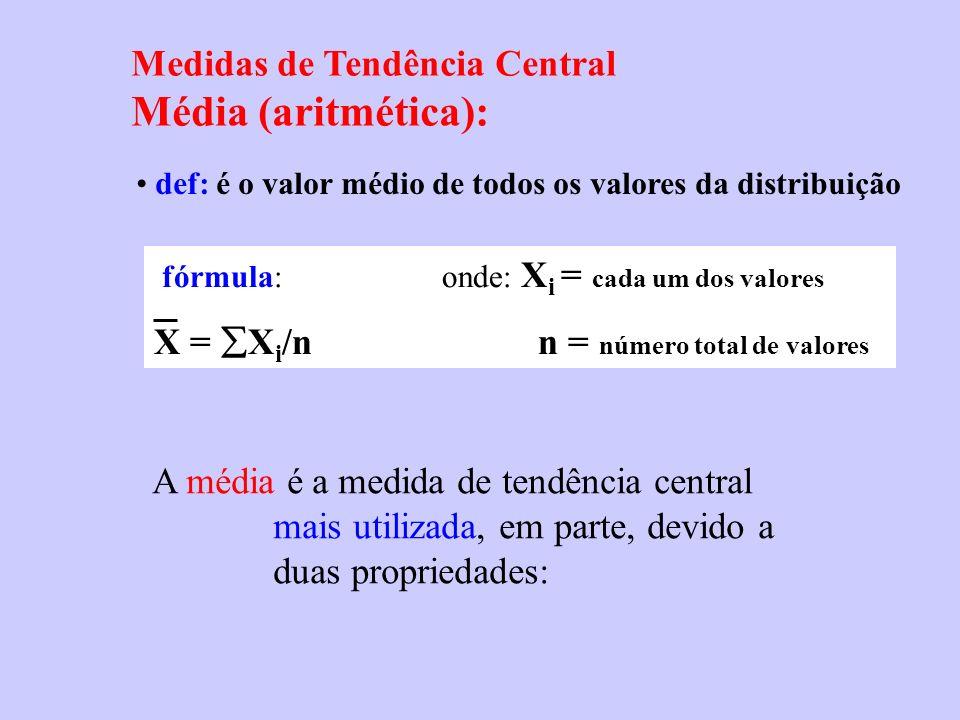 Medidas de Tendência Central Média (aritmética): def: é o valor médio de todos os valores da distribuição A média é a medida de tendência central mais