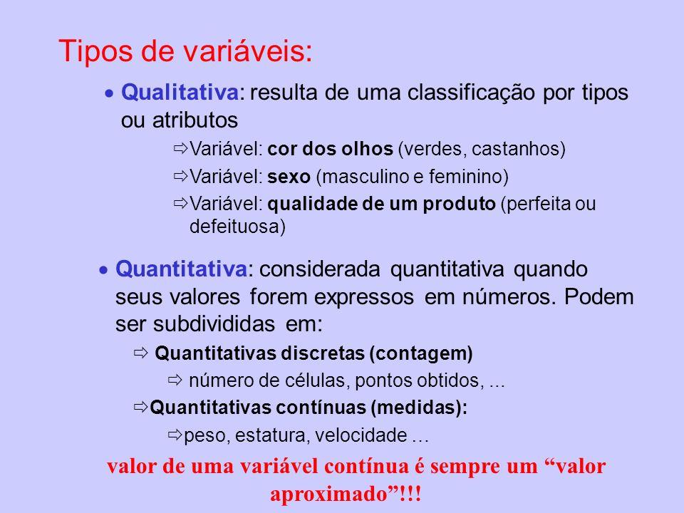 Tipos de variáveis: Qualitativa: resulta de uma classificação por tipos ou atributos Variável: cor dos olhos (verdes, castanhos) Variável: sexo (mascu