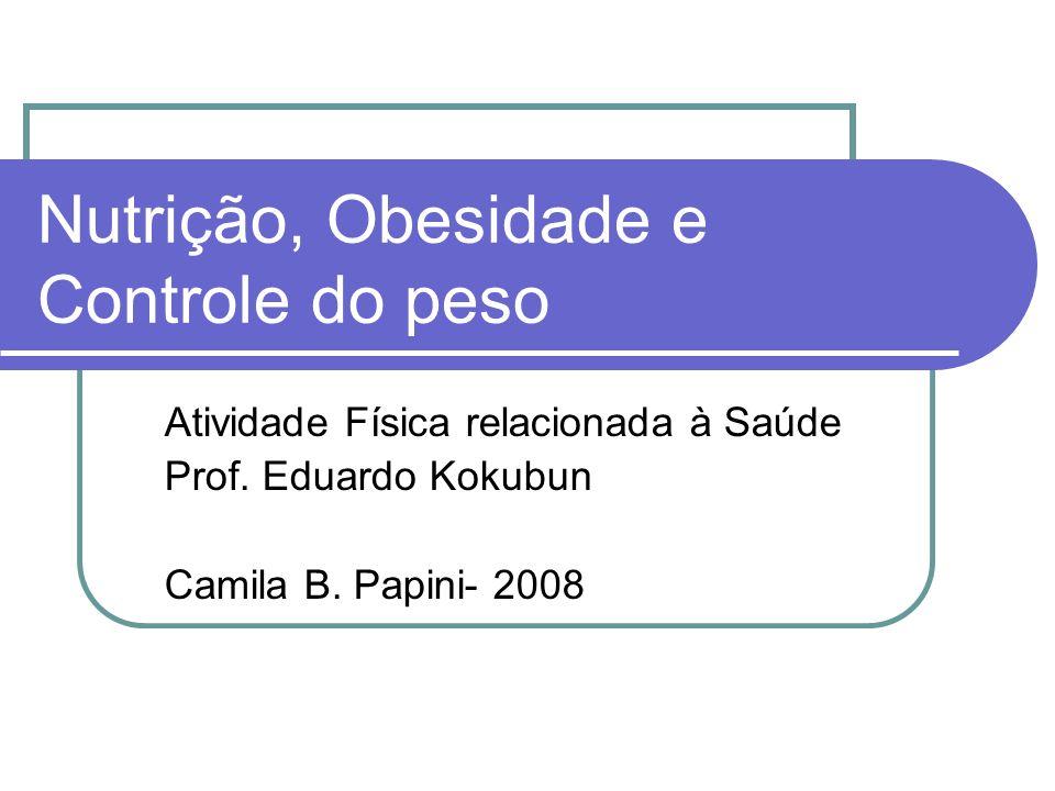 Nutrição, Obesidade e Controle do peso Atividade Física relacionada à Saúde Prof. Eduardo Kokubun Camila B. Papini- 2008