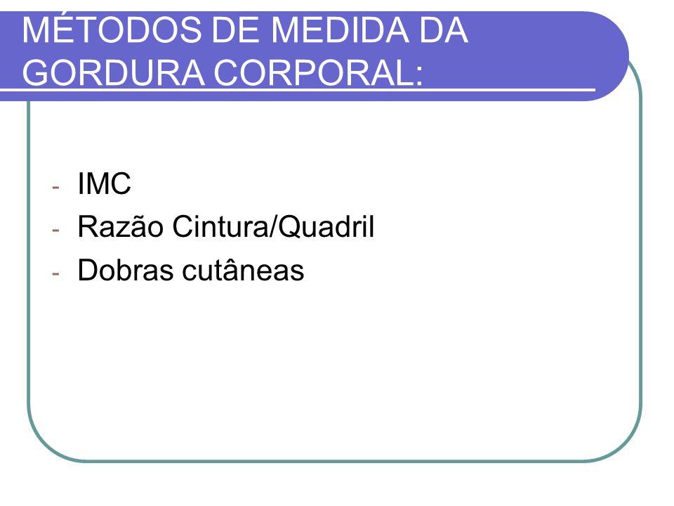 MÉTODOS DE MEDIDA DA GORDURA CORPORAL: - IMC - Razão Cintura/Quadril - Dobras cutâneas