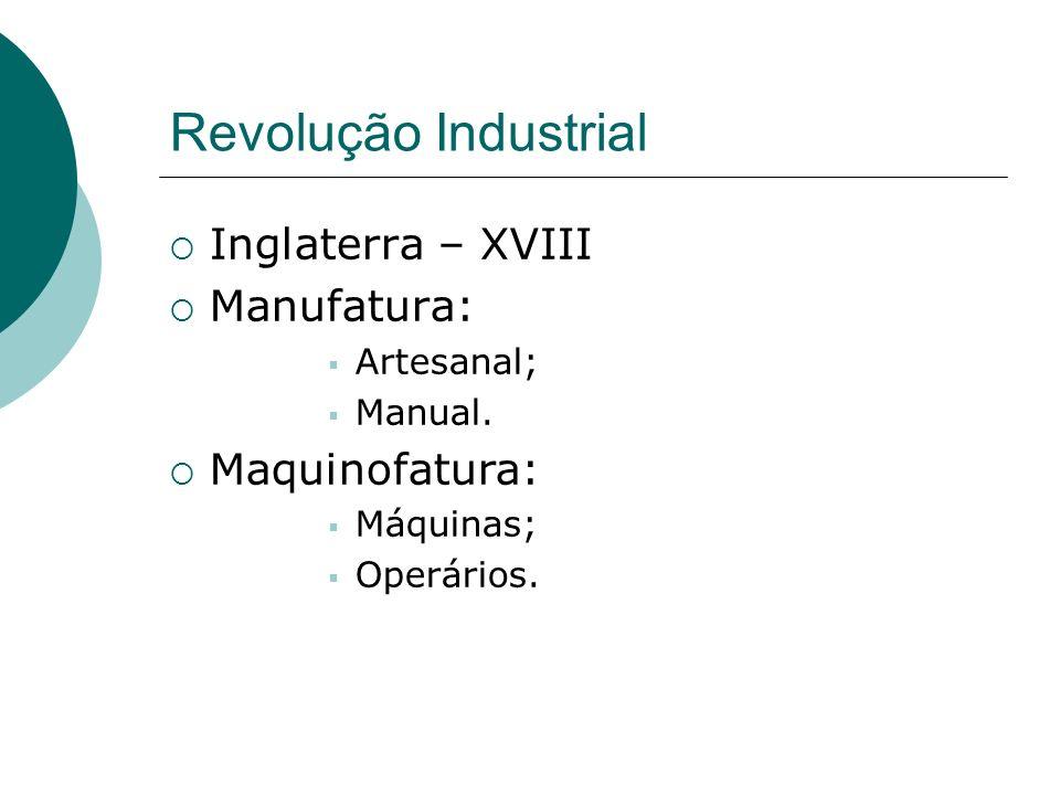 Revolução Industrial Tecnológica, econômica e social produtividade tempo Capitalismo Produção em série Especialização Movimentos: ludista, cartista, trade-unions Sindicatos
