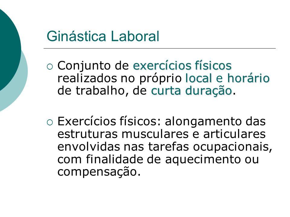 Ginástica Laboral Ginástica Preparatória Ginástica Compensatória (ou Corretiva) Ginástica Relaxante