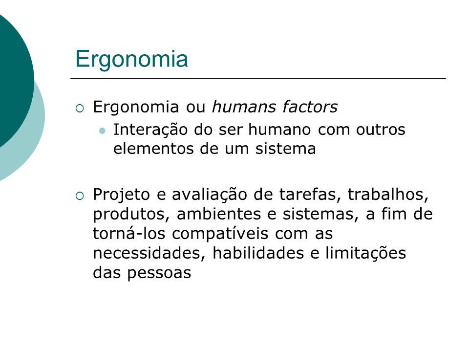 Ergonomia - Bases Disciplinas: Antropometria; Biomecânica; Engenharia; Psicologia; Fisiologia.