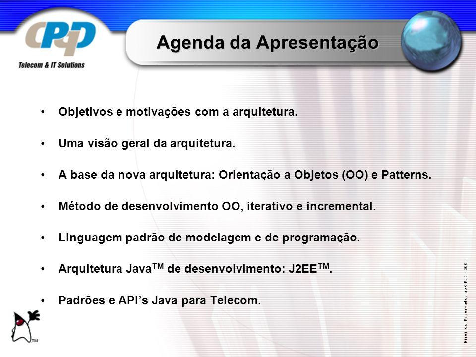 D i r e i t o s R e s e r v a d o s a o C P q D - 2 0 0 1 Agenda da Apresentação Objetivos e motivações com a arquitetura.