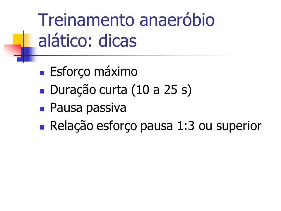 Treinamento anaeróbio alático: dicas Esforço máximo Duração curta (10 a 25 s) Pausa passiva Relação esforço pausa 1:3 ou superior