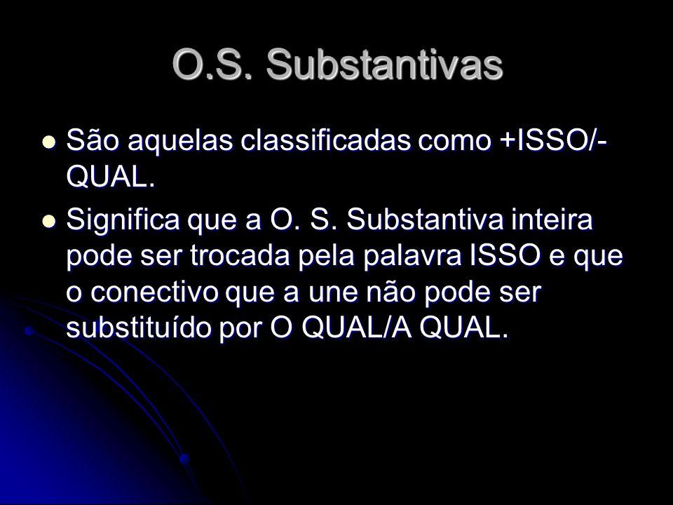 OS Substantivas São 6 tipos, classificadas conforme a relação sintática que estabelece com a Oração Principal: - Subjetiva;- Completiva Nominal; - Objetiva Direta;- Predicativa; - Objetiva Indireta; - Apositiva.