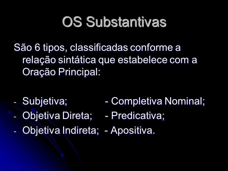 OS Substantivas São 6 tipos, classificadas conforme a relação sintática que estabelece com a Oração Principal: - Subjetiva;- Completiva Nominal; - Obj