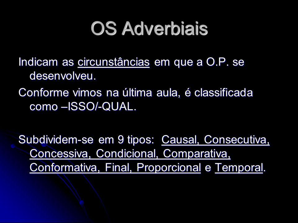 Indicam as circunstâncias em que a O.P. se desenvolveu. Conforme vimos na última aula, é classificada como –ISSO/-QUAL. Subdividem-se em 9 tipos: Caus