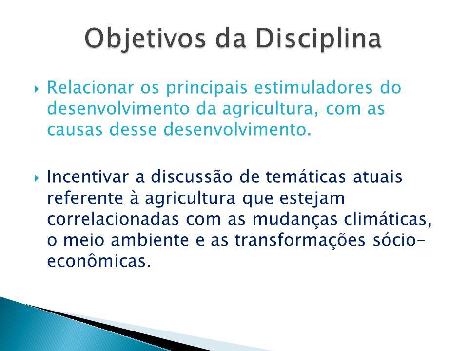 Relacionar os principais estimuladores do desenvolvimento da agricultura, com as causas desse desenvolvimento. Incentivar a discussão de temáticas atu