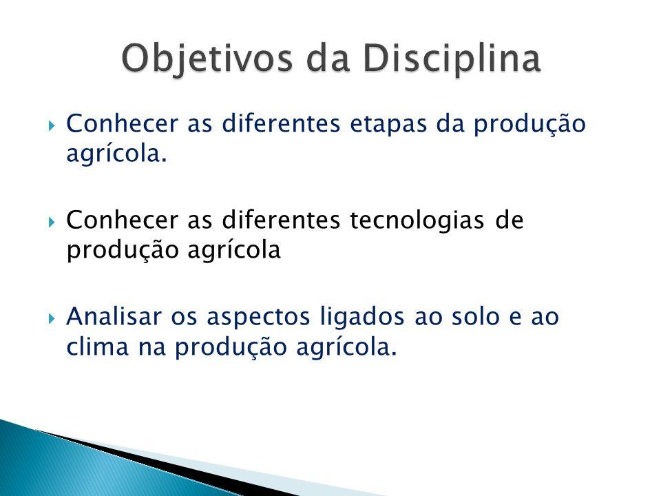 Conhecer as diferentes etapas da produção agrícola. Conhecer as diferentes tecnologias de produção agrícola Analisar os aspectos ligados ao solo e ao