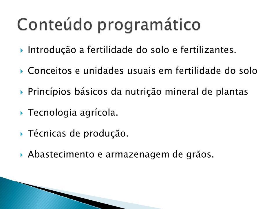 Introdução a fertilidade do solo e fertilizantes. Conceitos e unidades usuais em fertilidade do solo Princípios básicos da nutrição mineral de plantas
