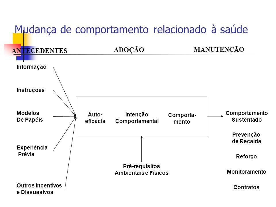 Mudança de comportamento relacionado à saúde Informação Instruções Modelos De Papéis Experiência Prévia Outros Incentivos e Dissuasivos Auto- eficácia