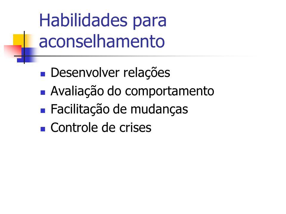 Habilidades para aconselhamento Desenvolver relações Avaliação do comportamento Facilitação de mudanças Controle de crises