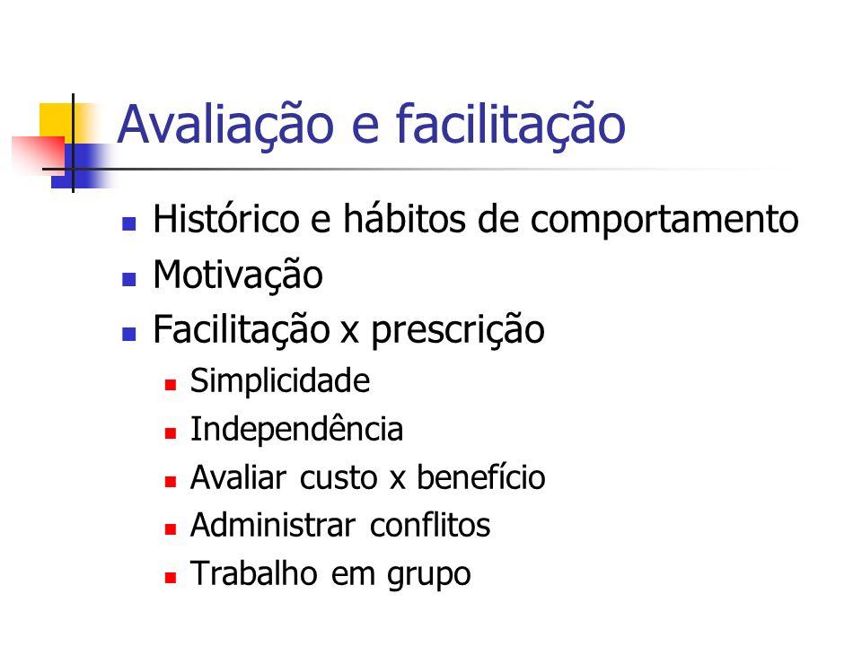 Avaliação e facilitação Histórico e hábitos de comportamento Motivação Facilitação x prescrição Simplicidade Independência Avaliar custo x benefício A