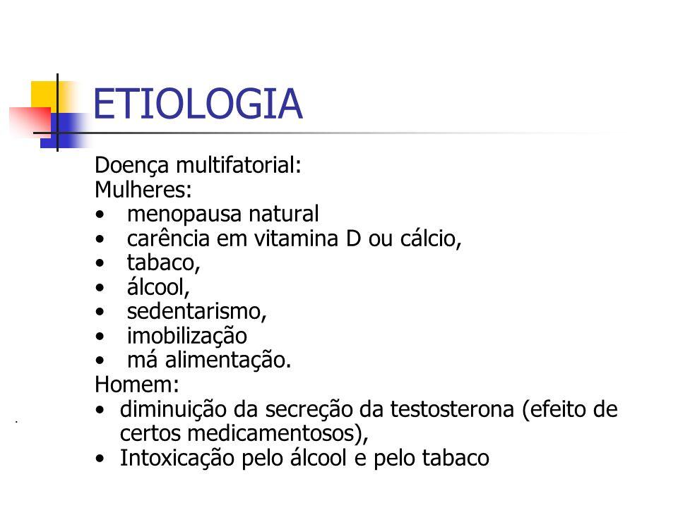ETIOLOGIA Doença multifatorial: Mulheres: menopausa natural carência em vitamina D ou cálcio, tabaco, álcool, sedentarismo, imobilização má alimentaçã