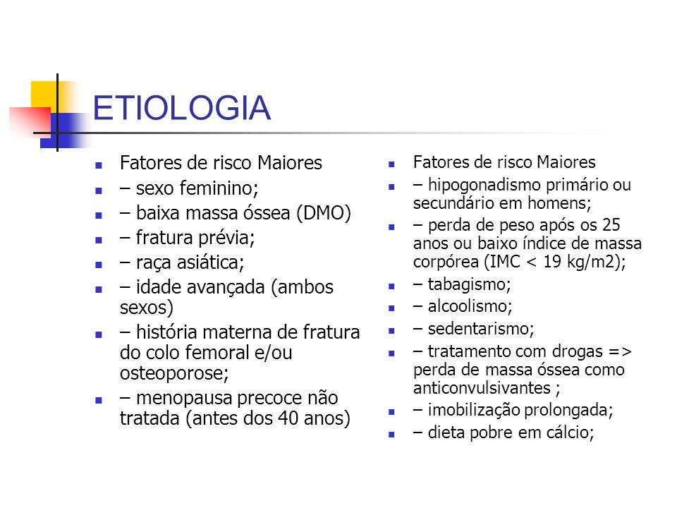 ETIOLOGIA Fatores de risco Maiores – sexo feminino; – baixa massa óssea (DMO) – fratura prévia; – raça asiática; – idade avançada (ambos sexos) – hist