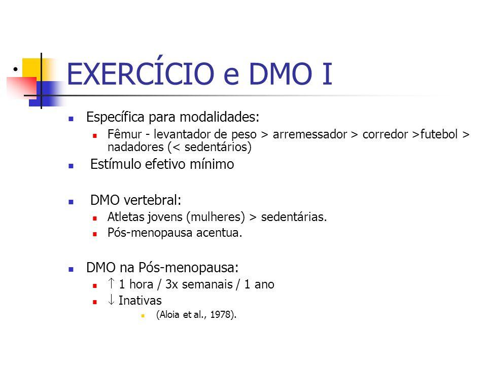 EXERCÍCIO e DMO I Específica para modalidades: Fêmur - levantador de peso > arremessador > corredor >futebol > nadadores (< sedentários) Estímulo efet