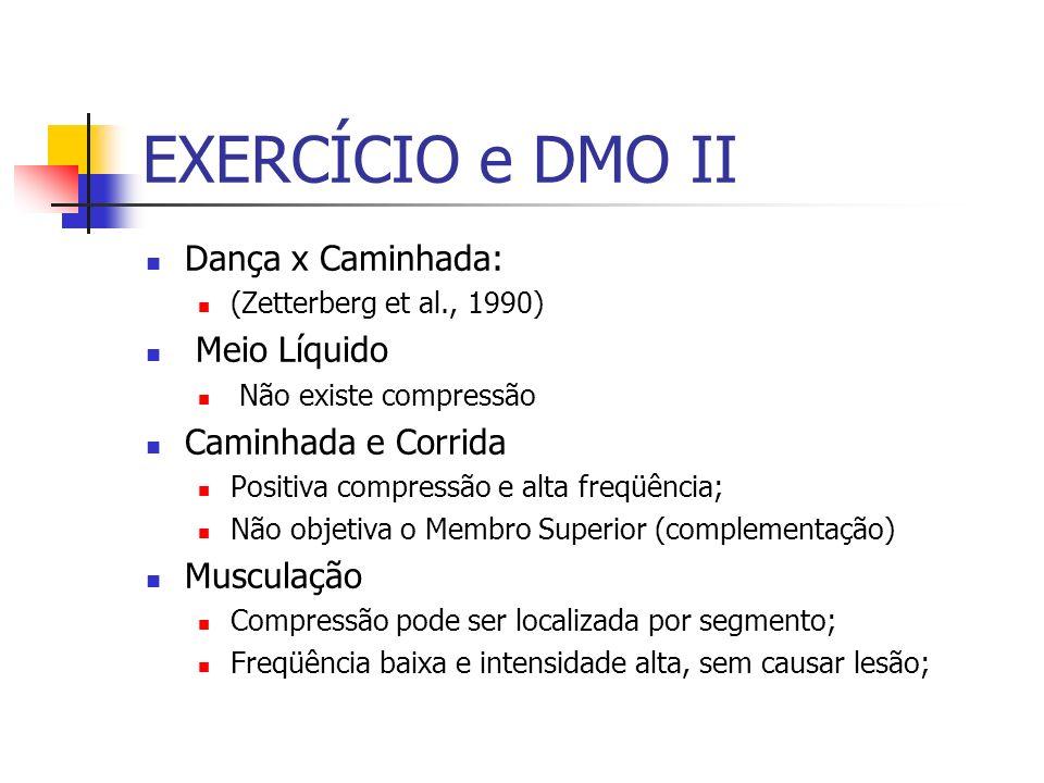 EXERCÍCIO e DMO II Dança x Caminhada: (Zetterberg et al., 1990) Meio Líquido Não existe compressão Caminhada e Corrida Positiva compressão e alta freq
