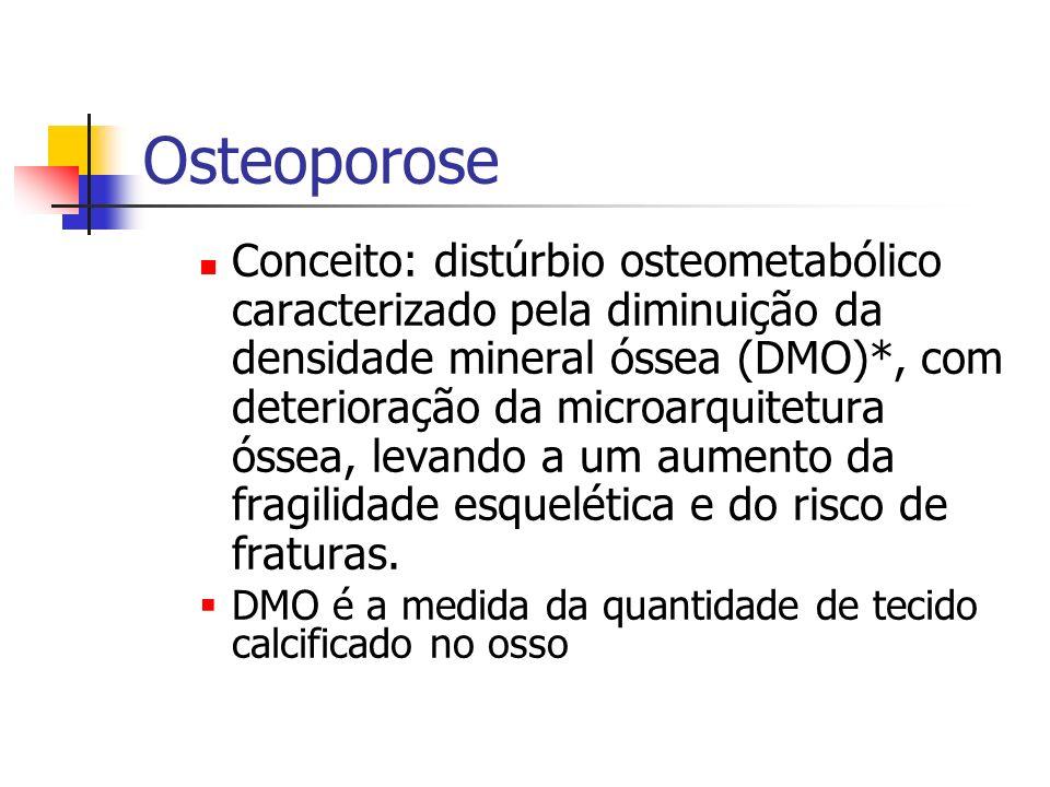 ETIOLOGIA Fatores de risco Maiores – sexo feminino; – baixa massa óssea (DMO) – fratura prévia; – raça asiática; – idade avançada (ambos sexos) – história materna de fratura do colo femoral e/ou osteoporose; – menopausa precoce não tratada (antes dos 40 anos) Fatores de risco Maiores – hipogonadismo primário ou secundário em homens; – perda de peso após os 25 anos ou baixo índice de massa corpórea (IMC < 19 kg/m2); – tabagismo; – alcoolismo; – sedentarismo; – tratamento com drogas => perda de massa óssea como anticonvulsivantes ; – imobilização prolongada; – dieta pobre em cálcio;