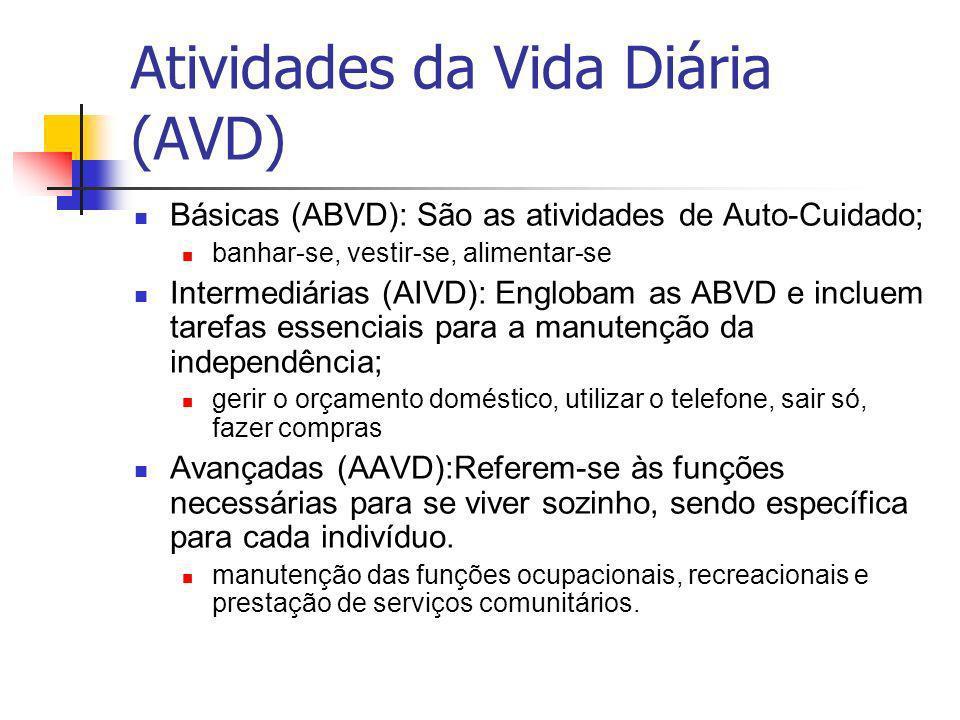 Atividades da Vida Diária (AVD) Básicas (ABVD): São as atividades de Auto-Cuidado; banhar-se, vestir-se, alimentar-se Intermediárias (AIVD): Englobam as ABVD e incluem tarefas essenciais para a manutenção da independência; gerir o orçamento doméstico, utilizar o telefone, sair só, fazer compras Avançadas (AAVD):Referem-se às funções necessárias para se viver sozinho, sendo específica para cada indivíduo.