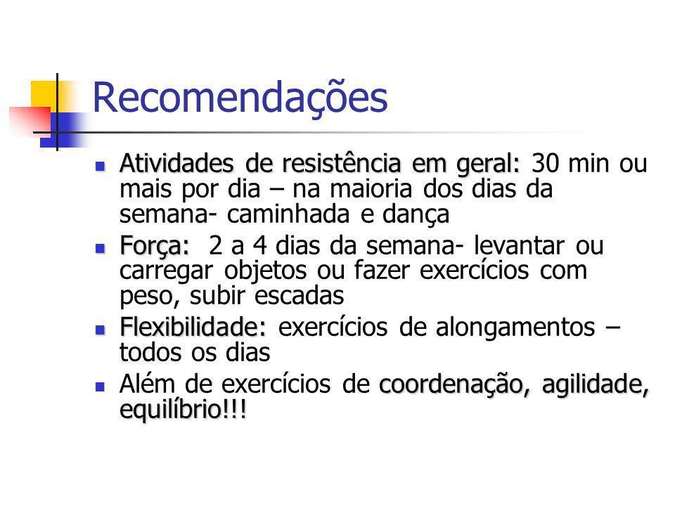 Recomendações Atividades de resistência em geral: Atividades de resistência em geral: 30 min ou mais por dia – na maioria dos dias da semana- caminhada e dança Força: Força: 2 a 4 dias da semana- levantar ou carregar objetos ou fazer exercícios com peso, subir escadas Flexibilidade: Flexibilidade: exercícios de alongamentos – todos os dias coordenação, agilidade, equilíbrio!!.