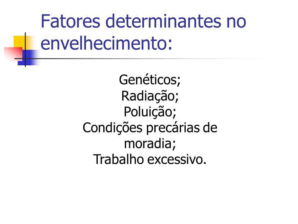 Fatores determinantes no envelhecimento: Genéticos; Radiação; Poluição; Condições precárias de moradia; Trabalho excessivo.